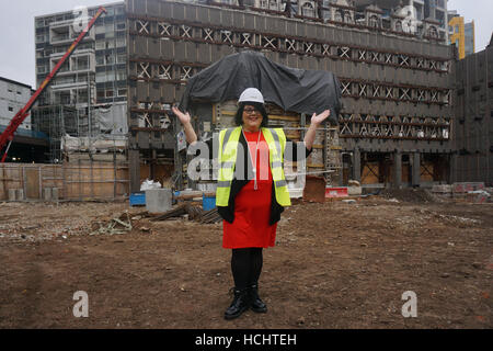 London, UK. 9th December, 2016. Night Czar, Amy Lamé, visits site of two new music venues on site 4th floor down - Stock Photo