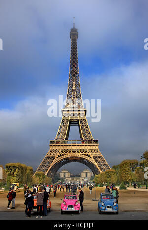 View of the Eiffel tower from the side of Champ de Mars, Paris, France. - Stock Photo
