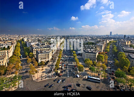 The Champs-Élysées as seen from the Arc de Triomphe (Arch of Triumph), Paris, France. - Stock Photo