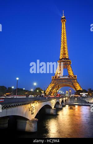 The Eiffel Tower, Pont d'Iena and Seine river, Paris, France - Stock Photo