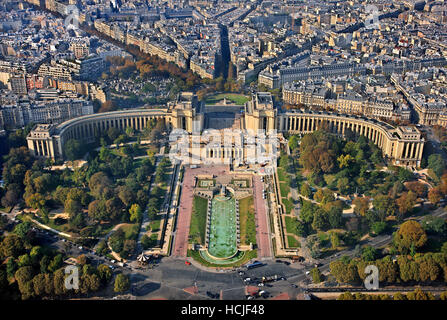 The Palais de Chaillot and the gardens of Trocadero. View from the top of the Eiffel Tower. Paris, France. - Stock Photo