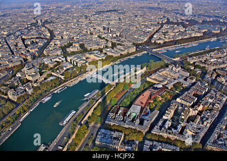 Panoramic view of Paris and Seine river  from thet top of Eiffel Tower, Paris, France - Stock Photo