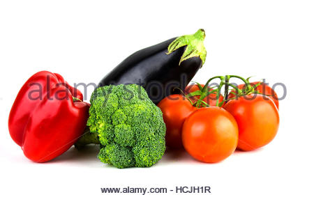 Vegetable on a Wooden Table Isolated on White, broccoli, eggplant, tomatoes, red pepper - Stock Photo
