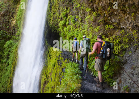 Hikers approach Tunnel Falls on the Eagle Creek Trail, cut into the basalt cliff behind the waterfall, in Columbia - Stock Photo