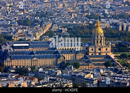 The Hôtel National des Invalides as seen from the top of the Eiffel Tower, Paris, France - Stock Photo