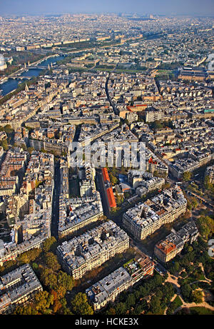 View of typical neighborhood on the right bank of river Seine from the tope of Eiffel tower, Paris, France. - Stock Photo