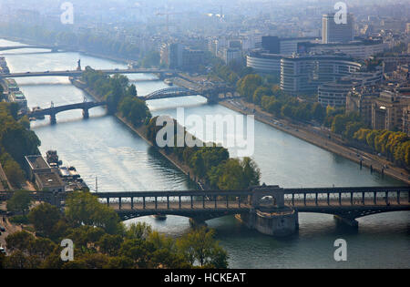 Bridges on Seine river. View from the Eiffel Tower, Paris, France - Stock Photo