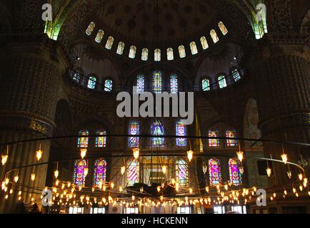 View from Inside The Sultan Ahmed Mosque aka Blue Mosque, a holy place of worship in Istanbul, Turkey - Stock Photo