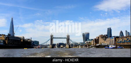 Panoramic view of Famous London skyline on a sunny summer day - Stock Photo