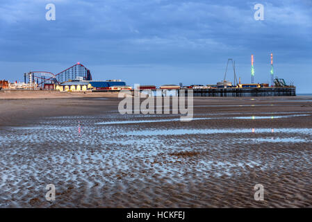 Blackpool Pleasure Beach commonly referred to as Pleasure Beach Resort is an amusement park situated along the Fylde - Stock Photo