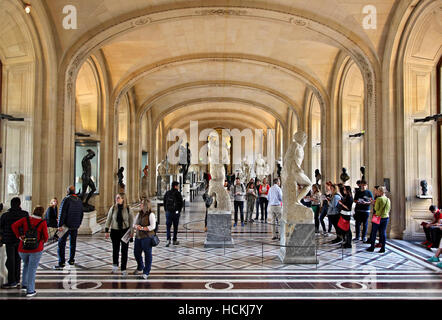 One of the halls of the Denon wing in Louvre museum (the one with the 'Dying Slave' by Michelangelo) dedicated to - Stock Photo