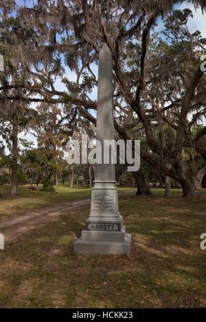 Memorial to Abbott at Fort Frederica National Monument, St Simons Island, GA, USA - Stock Photo