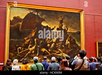 Théodore Géricault's painting 'The raft of the Medusa' in the Louvre Museum, Paris, France - Stock Photo