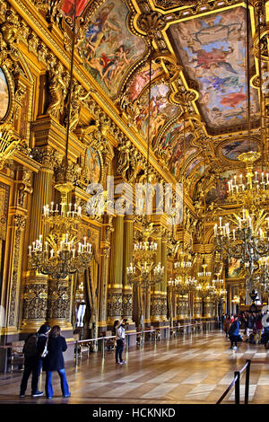 The Grand Foyer in Palais Garnier, National Opera House, Paris, France. - Stock Photo