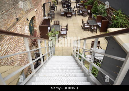 High perspective of stairs going down - Stock Photo