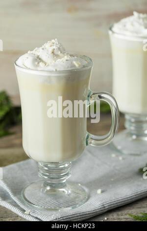 Homemade Sweet White Hot Chocolate with Whipped Cream - Stock Photo