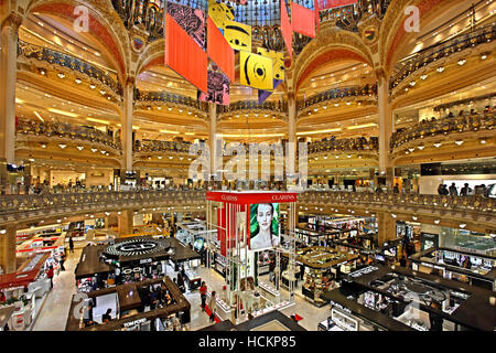 The Galeries Lafayette, the most famous Parisienne shopping center (since 1894), at 9th arrondissement, Paris, France - Stock Photo