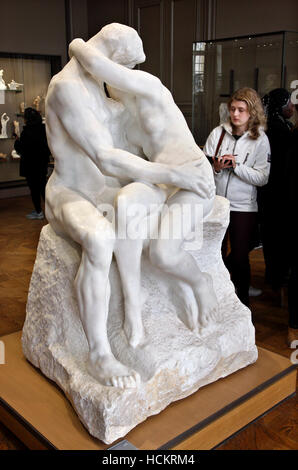 'The Kiss' (Le Baiser) by Auguste Rodin in Rodin Museum, Saint-Germain, Paris, France - Stock Photo