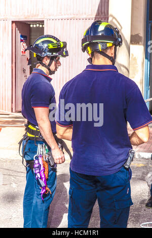 Firemen Manoeuvre in the fire station of Santa Cruz de Tenerife city - Stock Photo
