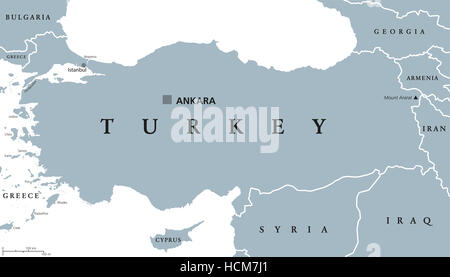 Turkey political map with capital Ankara, national borders and neighbor countries. Republic in Eurasia. Gray illustration. - Stock Photo
