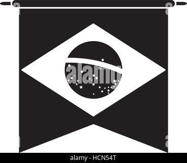 brasilian flag hanging symbol pictogram - Stock Photo