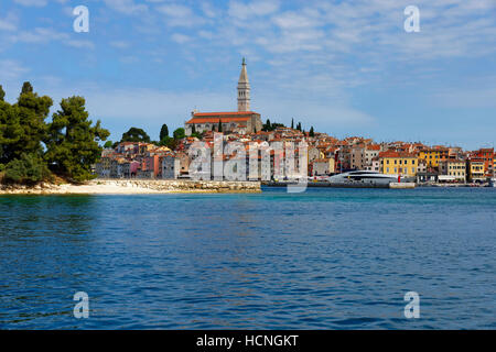 Rovinj: Old town seen from harbour, Istria, Croatia - Stock Photo