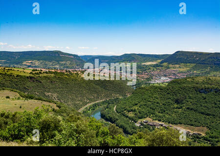 View of Millay city and river Lot, Aveyron, France - Stock Photo
