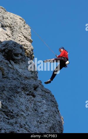 Woman doing sport climbing, Laussa, Upper Austria, Austria, Europe - Stock Photo