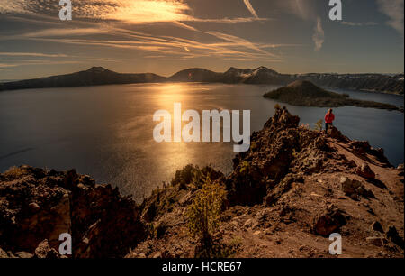 Crater Lake as seen from Merriam Point with wizard island The Watchman and Hillman Peak - Stock Photo