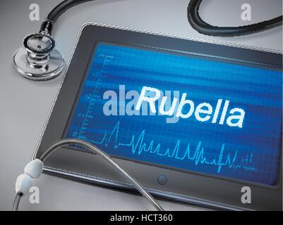 rubella word displayed on tablet with stethoscope over table - Stock Photo