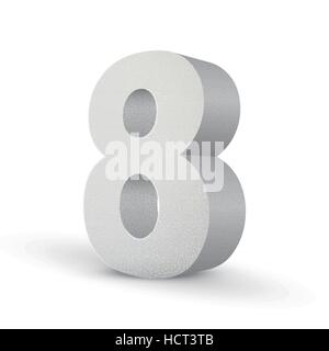 white texture number eight isolated over white background - Stock Photo