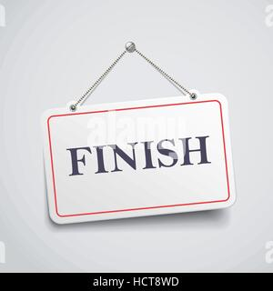 finish hanging sign isolated on white wall - Stock Photo