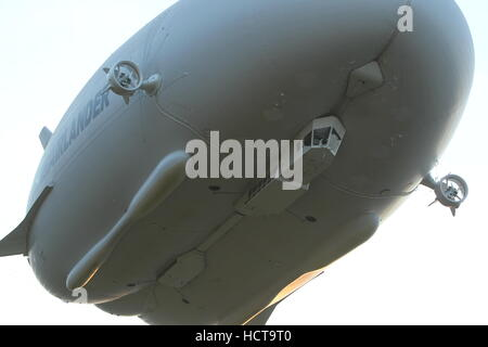 The Airlander 10, the world's largest aircraft, during it's maiden flight at Cardington Airfield, Bedfordshire  - Stock Photo