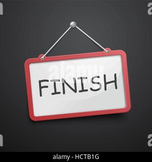 finish hanging sign isolated on black wall - Stock Photo
