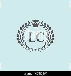 L, C letters vector business logo (sign, symbol, monogram, icon). Luxury brand identity for hotel, restaurant, boutique - Stock Photo