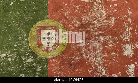 Old grunge vintage dirty faded shabby distressed Portugal (Portuguese Republic, Republica Portuguesa) national flag - Stock Photo