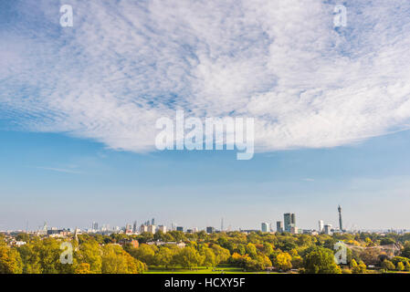 City skyline in autumn seen from Primrose Hill, Chalk Farm, London Borough of Camden, London, UK - Stock Photo