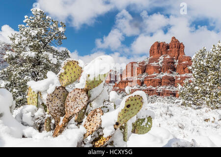 Bell Rock after a snow storm near Sedona, Arizona, USA - Stock Photo