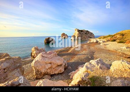 Aphrodites Rock, Paphos, Cyprus, Eastern Mediterranean Sea - Stock Photo