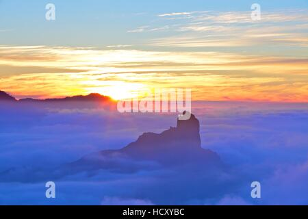 Sunset over Roque Bentayga, Gran Canaria, Canary Islands, Spain - Stock Photo