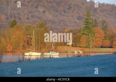 Lake Windermere on a frosty morning Stock Photo