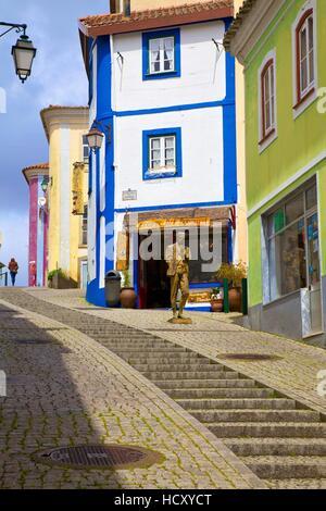 Colourful Main Street of Monchique, Western Algarve, Algarve, Portugal - Stock Photo