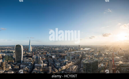 A view of London with 20 Fenchurch Street (The Walkie Talkie) and The Shard, London, UK - Stock Photo