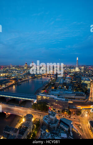 A night-time view of London and the River Thames from the top of the Southbank Tower, London, UK - Stock Photo