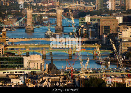 A view of the River Thames and Tower Bridge from the top of Centre Point tower, London, UK - Stock Photo