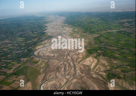 Afghanistan landscape from the Herat-Kabul flight, Afghanistan - Stock Photo