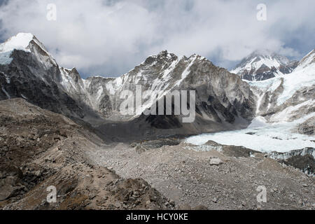 Everest Base Camp seen here as a scattering of tents in the distance at the back of the Khumbu glacier, Khumbu Region, - Stock Photo