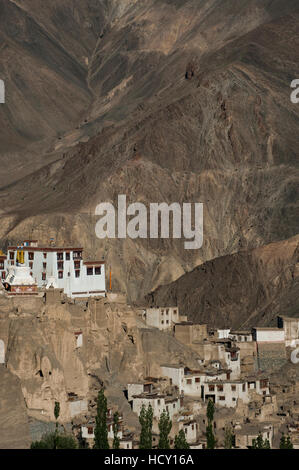 A view of the magnificent 1000-year-old Lamayuru Monastery in the remote region of Ladakh, northern India - Stock Photo