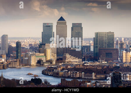 Moody view of Canary Wharf, Docklands, from above, London, UK - Stock Photo