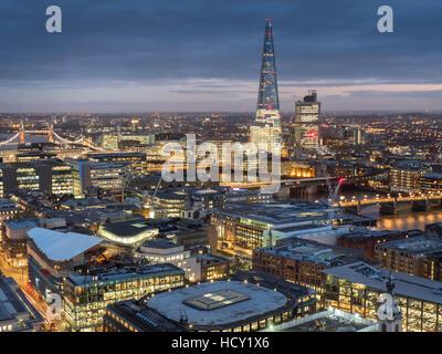 Cityscape with The Shard at dusk, London, UK - Stock Photo